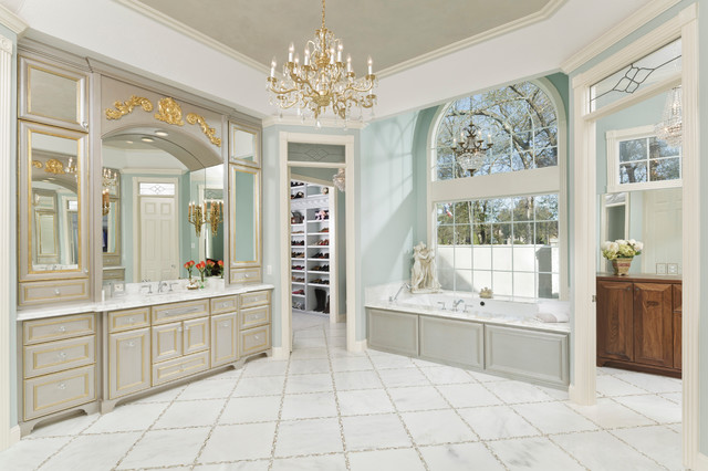Master bathroom with his and hers closets transitional for Master bathroom his and hers