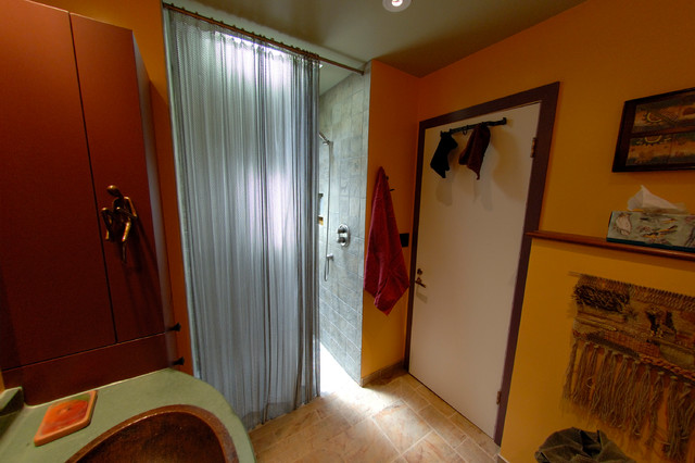 Master bathroom with metal shower curtain contemporary for Master bathroom curtains