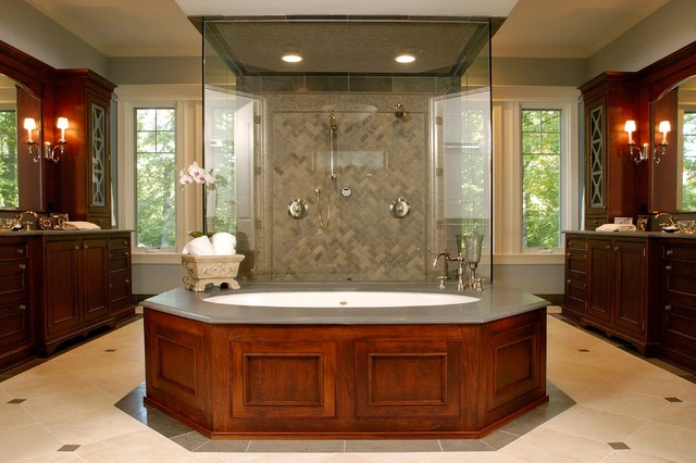 Master bathroom with pass thru shower and separate his for His hers bathroom decor