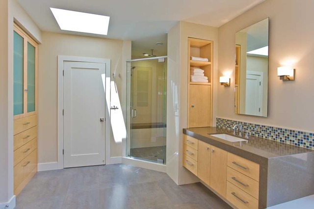 Master Bathroom with vanity shower storage skylight master closet door modern- & Master Bathroom with vanity shower storage skylight master ...