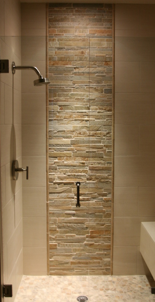 Types of stone on shower stripe floor and walls?