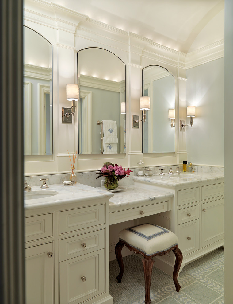 Mid-sized elegant bathroom photo in Boston with marble countertops, beaded inset cabinets, white cabinets, white walls, an undermount sink and white countertops