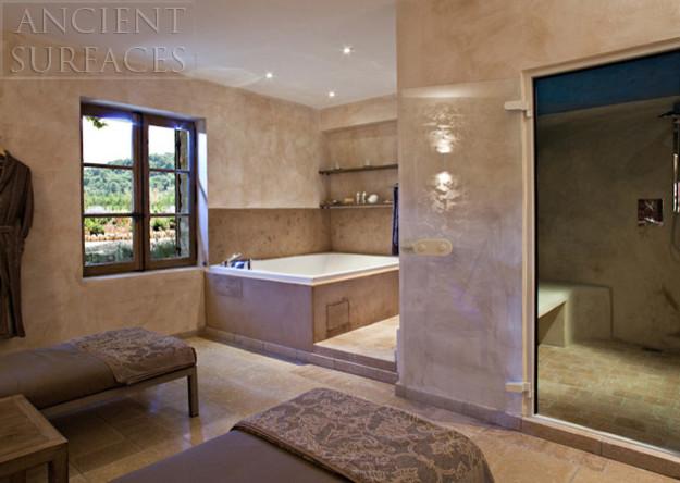 Master Bathrooms Tiles and  Antique Limestone mediterranean-bathroom