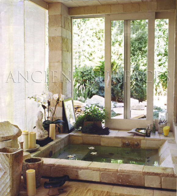 Master Bathrooms Tiles and  Antique Limestone mediterranean-bathroom