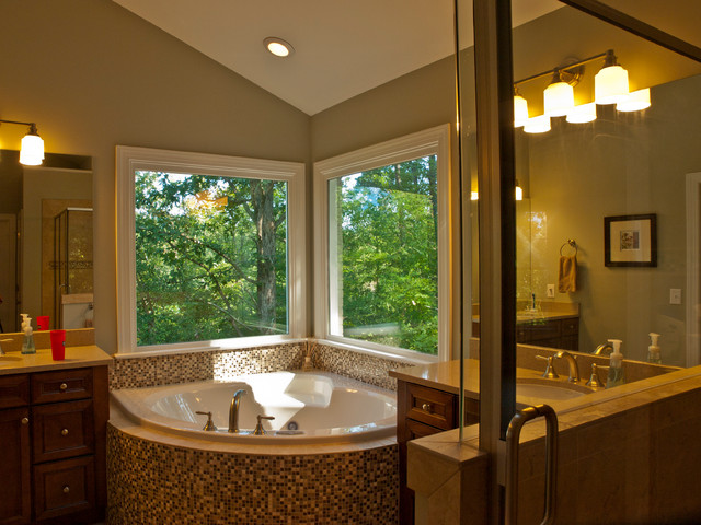 Inspiration For A Large Timeless Master Brown Tile Ceramic Floor Bathroom Remodel In Raleigh With An