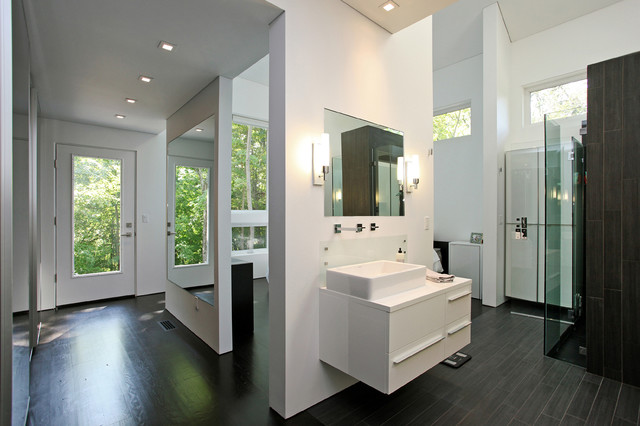 Master dressing room contemporary bathroom new york for Bathroom dressing ideas