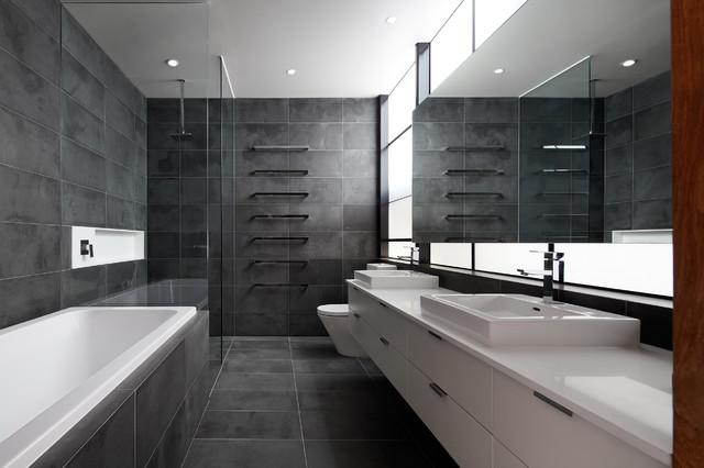 Master ensuite industrial bathroom melbourne by k Ensuite tile ideas pictures