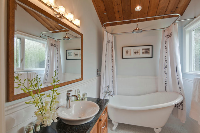 showering in a clawfoot tub. Inspiration for a transitional white tile and ceramic bathroom remodel  in Vancouver with granite countertops Handheld Shower Clawfoot Tub Faucets Houzz