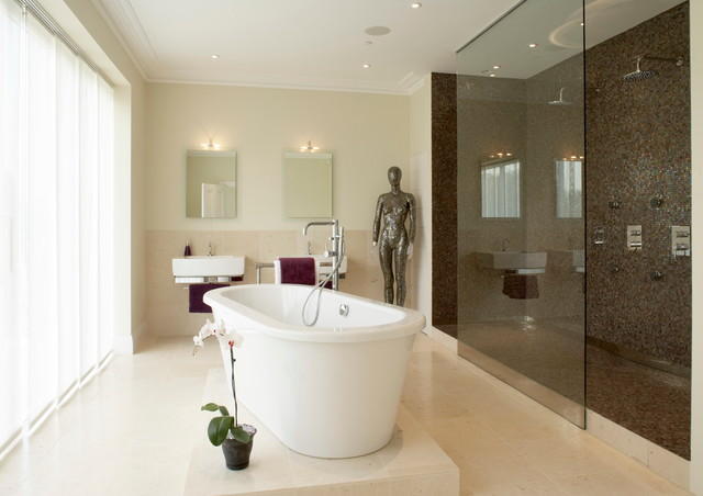 master ensuite with 3 metre walk through shower contemporary-bathroom