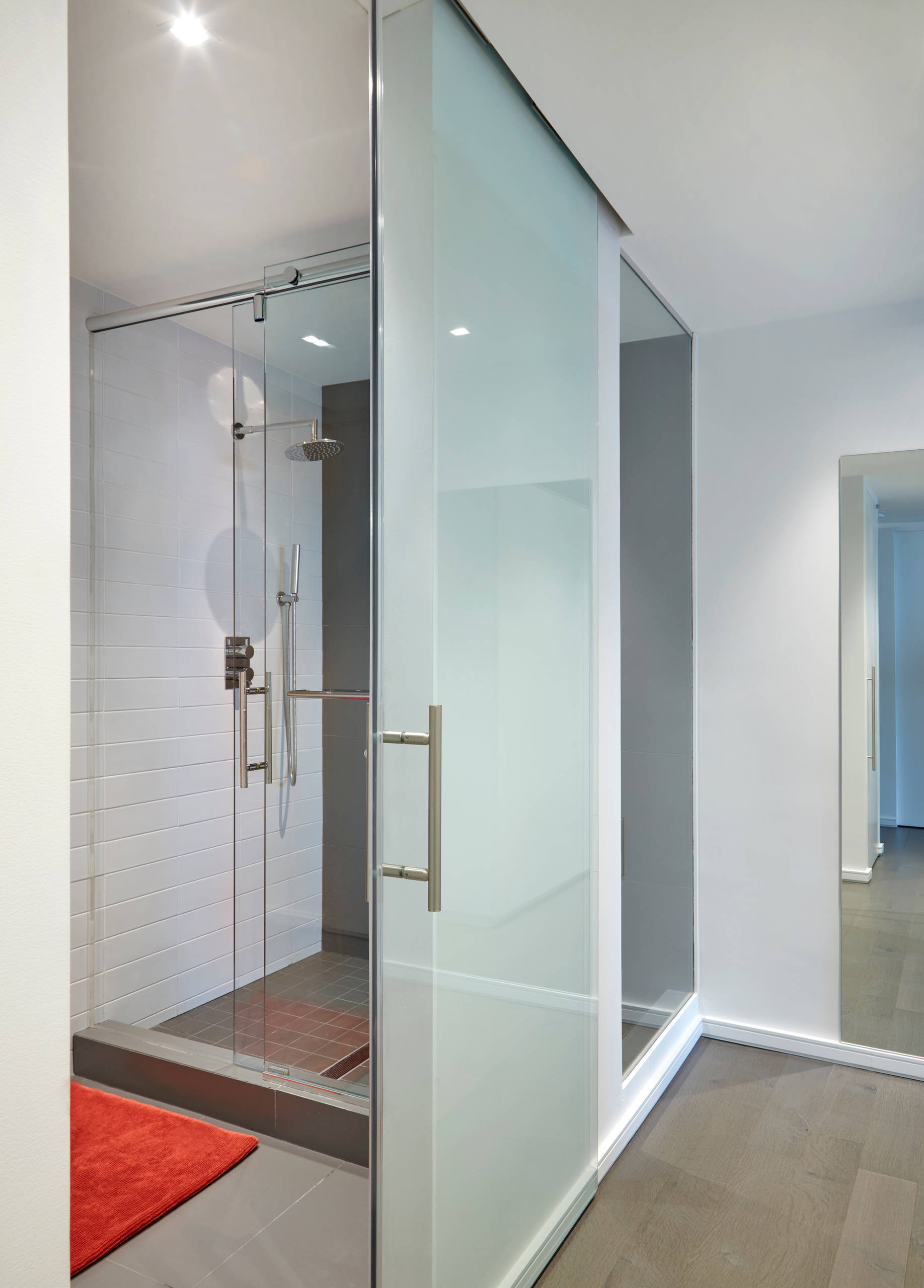 Master Modern Bathroom + Shower with City View
