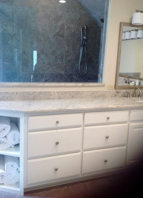 Master remodel mauve to neutral transitional bathroom for Mauve bathroom ideas