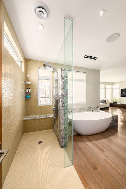 Master retreat open concept ensuite contemporary for Open shower bathroom