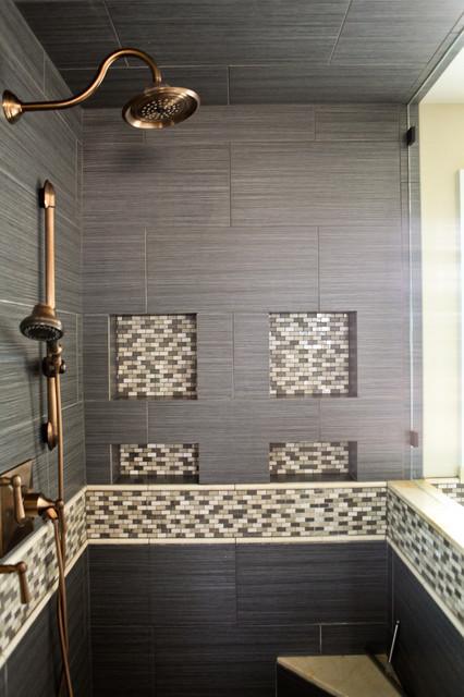 Master shower niche detail contemporain salle de bain - Niche de salle de bain ...