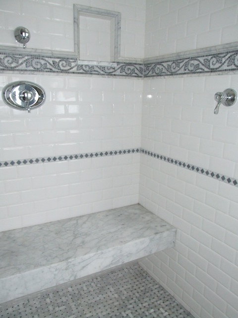 Master Shower With Built In Marble Bench Traditional Bathroom