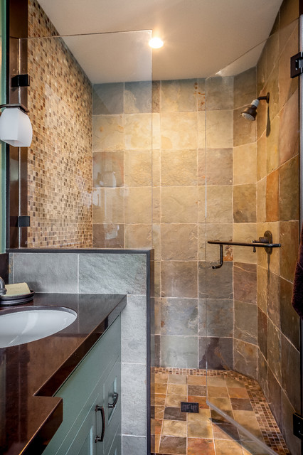Master Shower With Slate Tile And Oil Rubbed Bronze