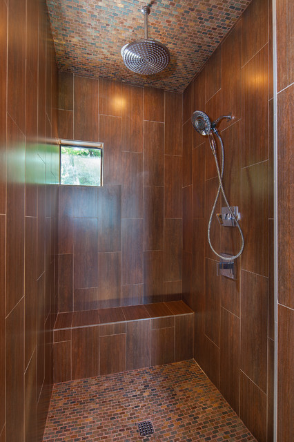 Master Shower Wood Look Ceramic Tile Lake Travis Waterfront Custom Home Beach Style