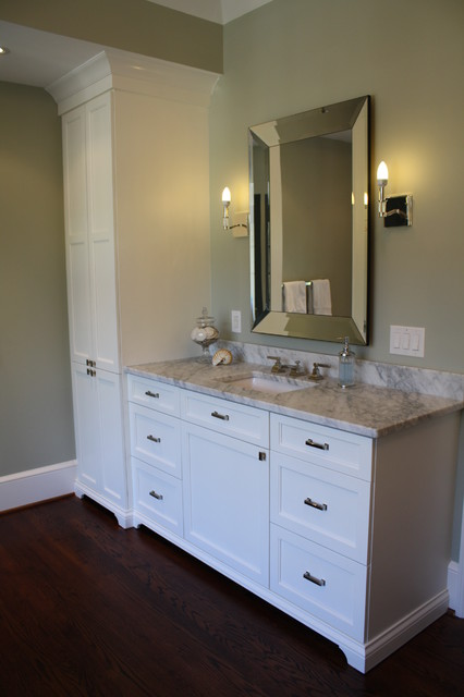 Country bathroom double vanities - Matching His And Her Master Bath Vanities And Towers Eclectic Bathroom