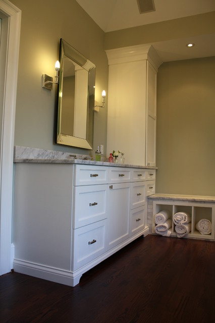 Matching his and her master bath vanities and towers ...