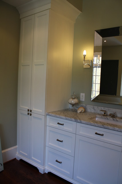 Linen window treatments - Matching His And Her Master Bath Vanities And Towers Eclectic Bathroom