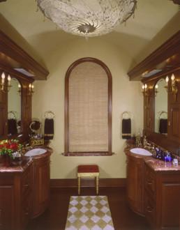 Matching marble vanities mediterranean-bathroom