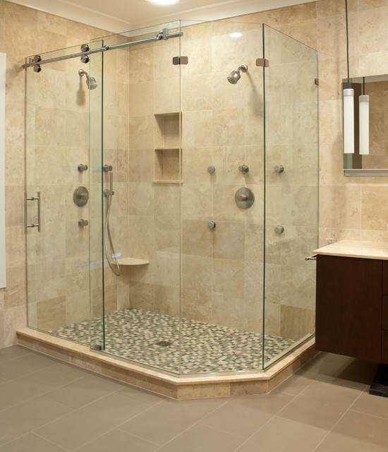 Small Bathroom With Frameless Shower: Matrix Series Frameless Slider Shower Door/ Enclosures By