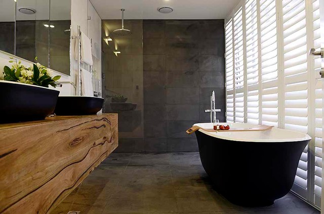 Matte black bath and basins for the block josh and for Award winning bathroom designs 2015
