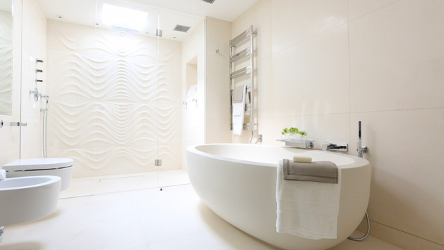 Beautiful Mayfair Penthouse Luxury Bathroom With Wave Shower Wall Contemporary  Bathroom