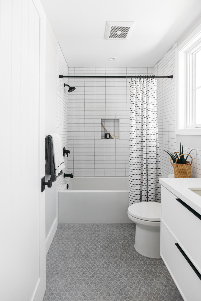 Bathroom - country master white tile gray floor, mosaic tile floor and single-sink bathroom idea in Los Angeles with an undermount sink, quartz countertops, white countertops, flat-panel cabinets, white cabinets, white walls and a floating vanity
