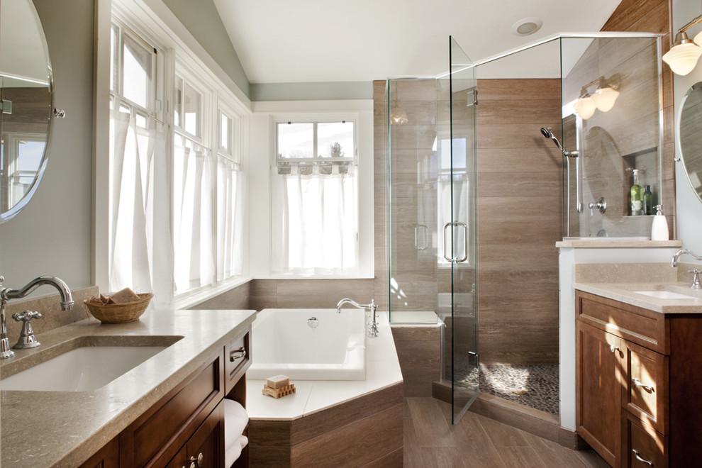 Transitional corner shower photo in Denver with an undermount sink