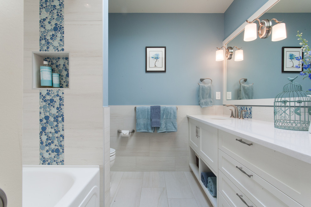 Inspiration for a transitional beige floor bathroom remodel in Vancouver with white cabinets and white countertops
