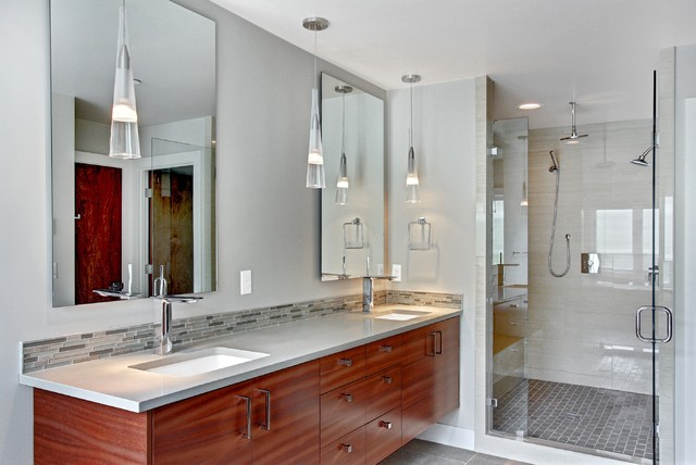 Superior Trendy Gray Tile And Matchstick Tile Bathroom Photo In Seattle With An  Undermount Sink