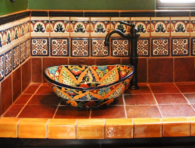 Mexican Tile Mediterranean Bathroom
