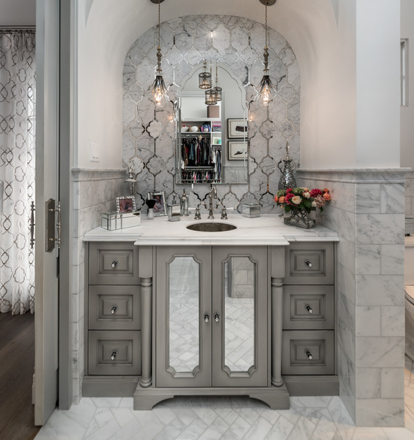 Tuscan gray tile gray floor bathroom photo in Phoenix with furniture-like cabinets, gray cabinets, white walls and an undermount sink