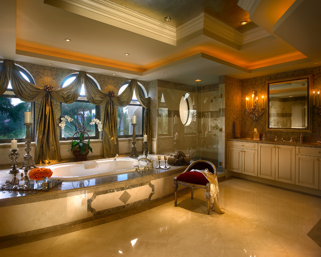 Mediterranean Style Luxury Bathrooms: Coral Gables Mansion