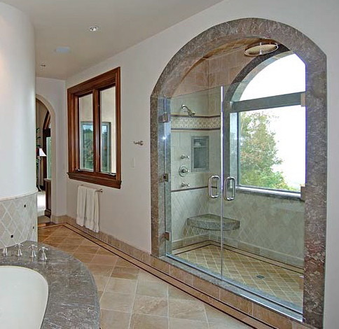 Shower with a view mediterranean bathroom
