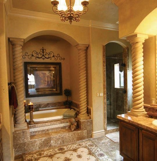 Bathroom Mediterranean Style: Mediterranian Bathroom -rope Columns By Realm Of Design