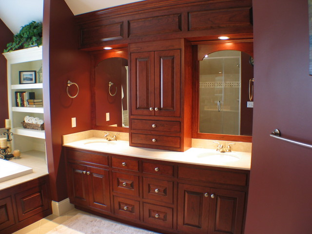 Master bathroom with paneled soffit traditional for Bathroom decorating ideas cherry cabinets