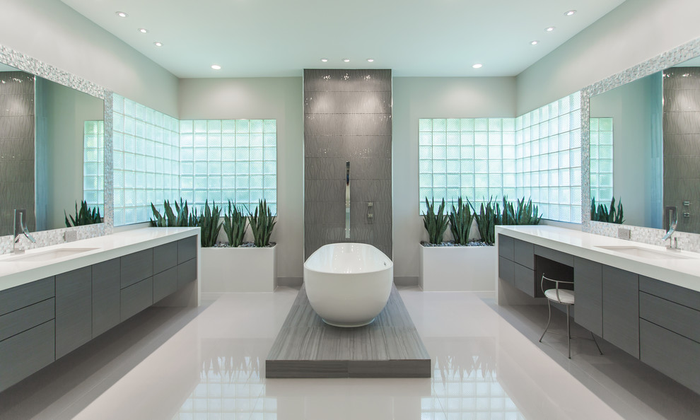 Inspiration for a large modern bathroom remodel in Houston