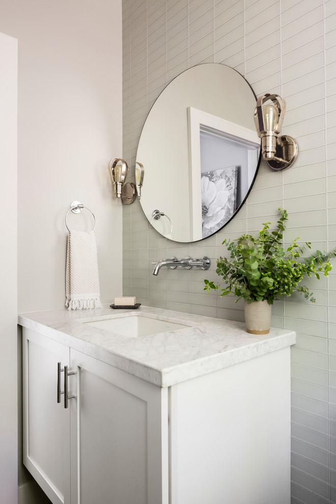 Mid-sized cottage gray tile and glass tile bathroom photo in Seattle with shaker cabinets, white cabinets, gray walls, an undermount sink, white countertops and marble countertops