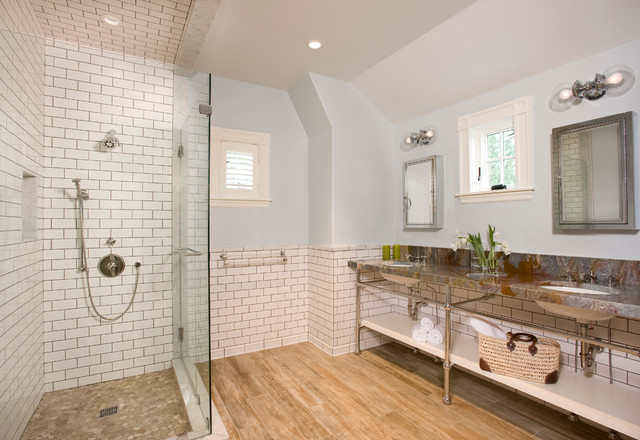 Meriam Hill House Traditional Bathroom Boston By: bathroom ideas wooden floor