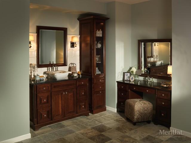 Merillat Masterpiece Temora In Cherry Kaffe Traditional Bathroom