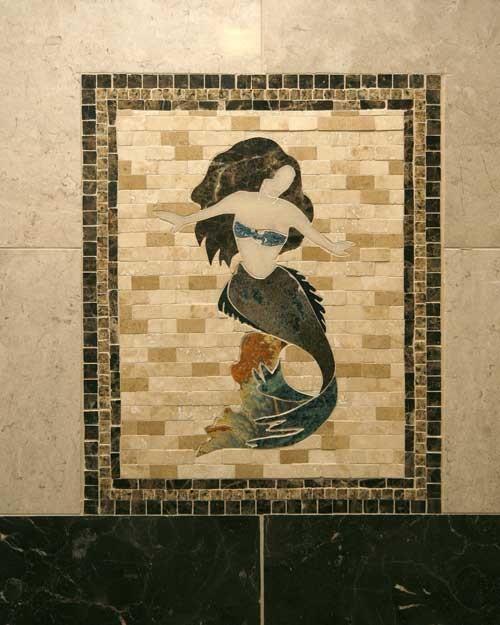 Mermaid Mosaic Accent eclectic-bathroom