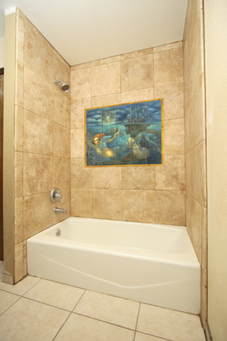 Mermaid tile mural in shower contemporary bathroom for Bathroom wall mural