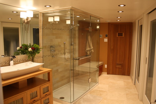 What is the price of this three sided glass shower and how for Bathroom with sauna plans