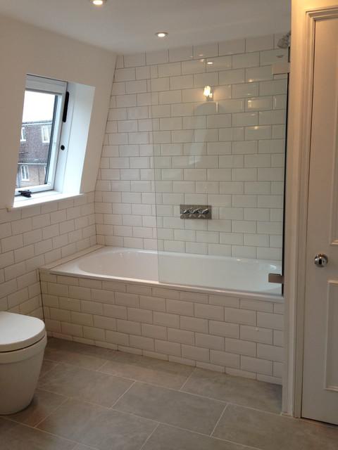 metro tiles bath shower traditional bathroom surrey