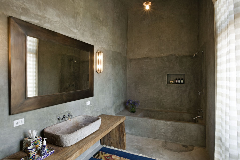 Inspiration for a mediterranean bathroom remodel in New York with a vessel sink