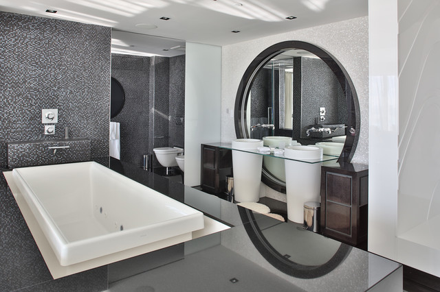 Black Luxury Modern Bathroom miami penthouse luxury master bath - contemporary - bathroom