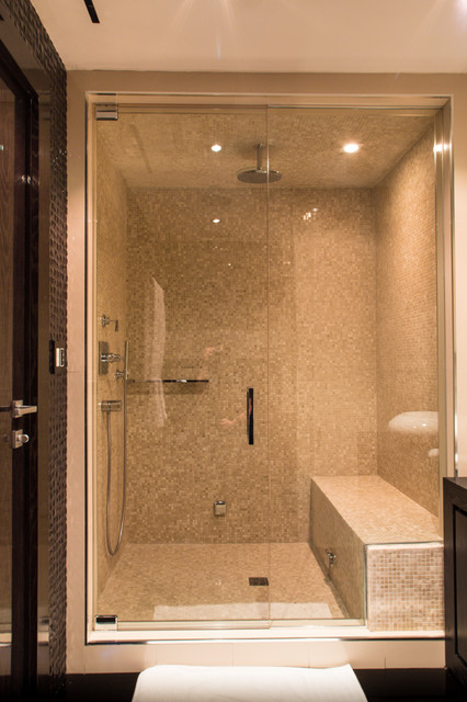 Bon Example Of A Mid Sized Trendy 3/4 Mosaic Tile Alcove Shower Design In