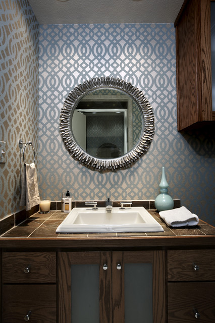 Inspiration for a 1960s 3/4 gray tile bathroom remodel in Seattle with tile countertops