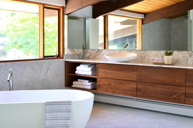 Modern Master Bathroom Designs: Mid Century Modern Deck House Master Suite